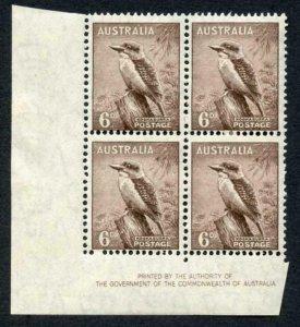 Australia SG190a 6d purple brown Perf 15 x 14 U/M (mounted in margin) Imprint
