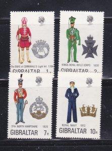 Gibraltar 286-289 Set MNH Military Uniforms (C)