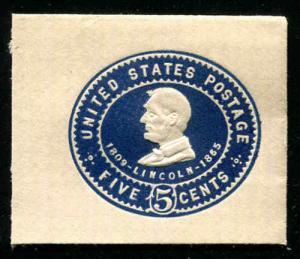 US U393 5c Envelope Cut Square Full Corner Mint SCV $15