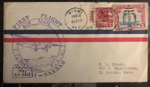 1929 Miami FL Usa first flight cover FFC To Nassau Bahamas FAM 7