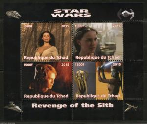 CHAD 2015 STAR WARS 'REVENGE OF THE SITH' SHEET OF FOUR  PERFORATED MINT NH