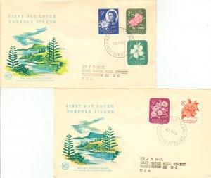 Norfolk Islands Scott 29-30, 32-34 Typewritten Address.