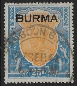 BURMA SG18 1937 25r ORANGE & BLUE USED