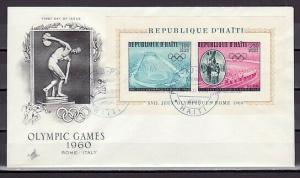 Haiti, Scott cat. C165a. Rome Olympics s/sheet. First day Cover. ^