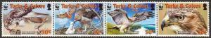 Turks & Caicos - WWF & Hawks -  Strip of 4 - 1482