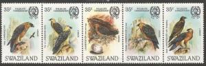 Swaziland Bird SC 448, 2 stamps MNH, three stamps MOG (9cko)