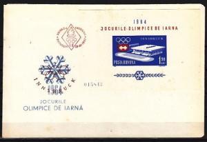 Romania, Scott cat. 1604. Innsbruck Olympics s/shhet. First day Cover.
