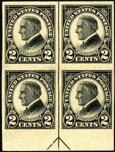 US Stamps # 611 MNH Superb Arrow block 4