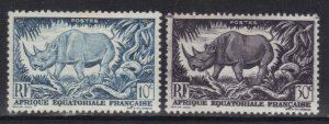 FRENCH EQUATORIAL AFRICA SC# 166+68  **MH ** 10c+30c   1946         SEE SCAN