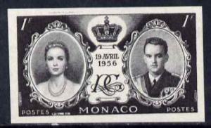Monaco 1956 Royal Wedding 1f imperf proof in black unmoun...