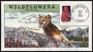 Collins Handpainted FDC Wildflowers: Idaho Harlequine Lupine, Puma (7/24/1992)