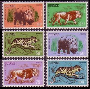Guinea Wild Game Lion Hippo Leopard 6v SG#326-331 MI#128-133
