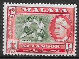 MALAYA SELANGOR SG126a 1960 $2 BRONZE-GREEN & SCARLET p13x12½ MTD MINT