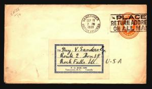 Canada 1930 Stationery Cover Used w/ Slogan Cancel - Z15382
