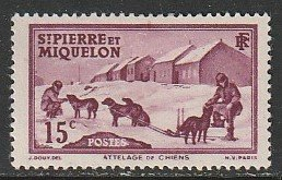 1938 St. Pierre and Miquelon - Sc 177 - used VF - 1 single - Dog Team