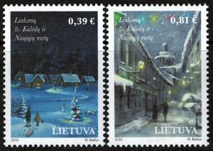 Lithuania  #1090-91 MNH - Christmas/New Year (2016)
