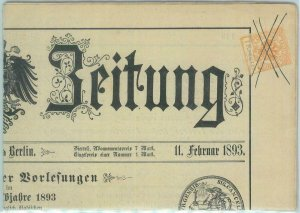 89378 - GERMANY - POSTAL HISTORY - Austrian Stamp on GERMAN NEWSPAPER - 1893