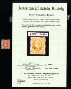 Guam Stamps # 11 VF Fresh Includes APS Certificate OG VLH Catalog Value $350.00