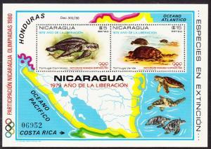 Nicaragua Turtles Moscow Olympic Games MS SG#2266 MI#Block 114 CV£100+