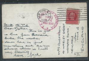 BERMUDA (P2105B)1938 CARIBBEAN ISLAND STAMP ON SS QUEEN OF BERMUDA CANCEL PPC #2