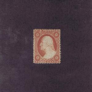 SCOTT# 25 UNUSED ORIGINAL GUM H 3c WASHINGTON, 1857.  2016 PSAG CERT.