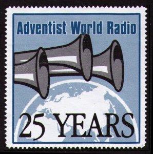 ADVANTIST WORL RADIO (AWR) 25 YEARS ANNIVERSARY NO GUM POSTER STAMP, CINDERELLA