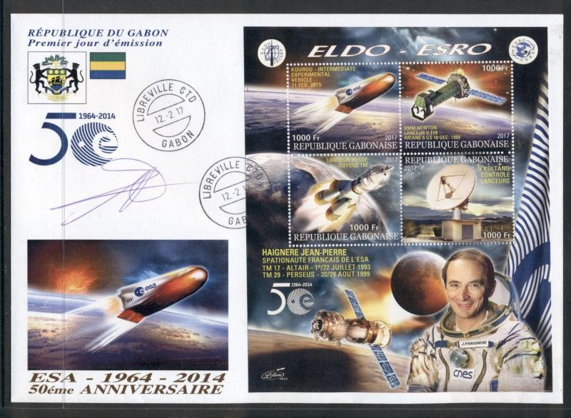 Space ESA Spacecraft Astronaut Jean-Pierre Haignere Gabon FDC first day cover