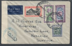 New Zealand Sc 231/239 on 1940 Censored Air Mail Cover, Auckland to England
