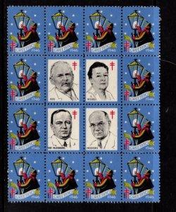 #WX131 Christmas Seal 1947 Block/16 w/Center (Perf 12 1/2)  - MNH