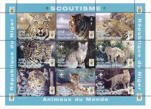 Niger 1998 Tiger Cats Cheetah Wild Animals 9v Mint Full Sheet. (L-113)