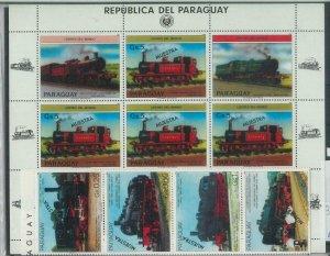 78586 - PARAGUAY - STAMPS:  Steam TRAINS  1985   MNH - SPECIMEN