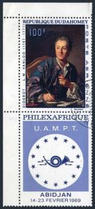 Dahomey C93/label,CTO.Michel 368. PHILEXAFRIQUE-1969.Diderot,by Michel Vantloo.
