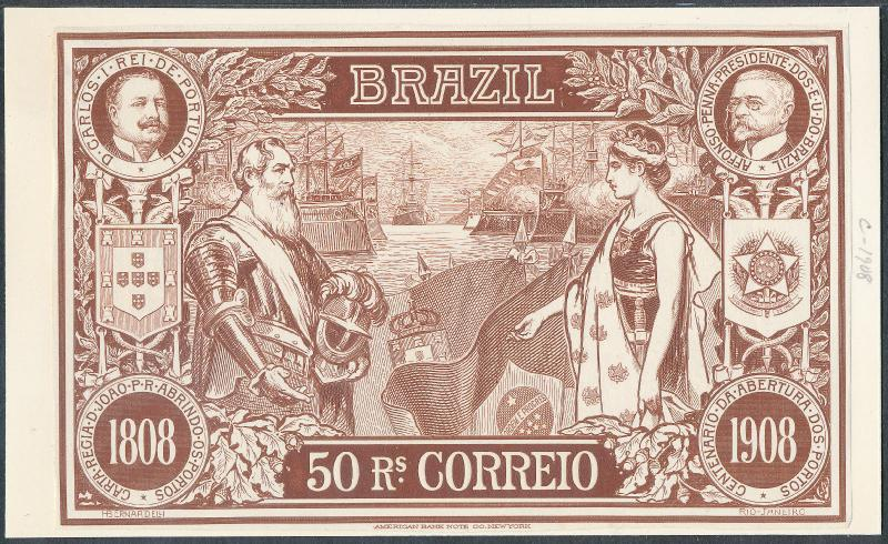 BRAZIL #190P3 ABNCo PLATE PROOF ON INDIA XF-SUPERB (EX-GREEN) HV5282