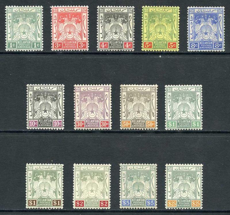 Kelantan SG1/13 1911 Set of 13 wmk Mult Crown CA M/Mint