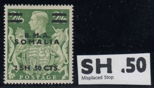 Somalia BOIC, SG S19a, MHR Misplaced Stop variety