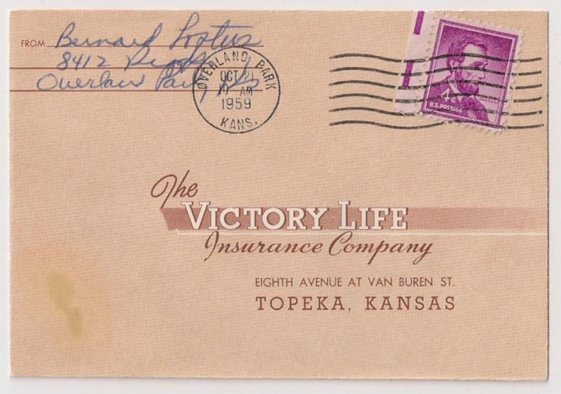 4c Liberty #1036 on 1959 Victory Life Insurance Co cover