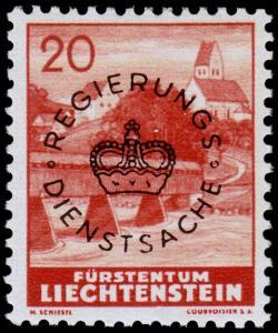 Liechtenstein Scott O24 (1941) Mint LH VF B