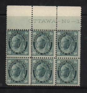 Canada #67 NH Mint Plate #1 Block Of Six