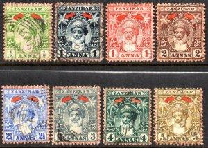 1899 Zanzibar Sg 188/197 Short Set of 8 Values Fine Used