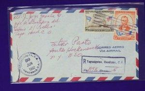 Registered Airmail Postal history cover Tegucigalpa Honduras CA 1962