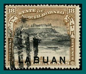 Labuan 1897 Mt Kinabalu, p16, cancelled  #81,SG96b