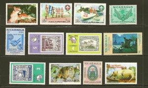 Nicaragua Lot of 12 Different Older Stamps MNH