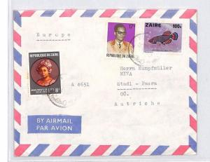 CA182 1980s Zaire FISH Airmail Cover MISSIONARY VEHICLES PTS