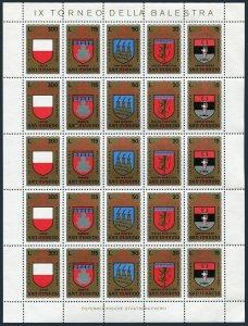 San Marino 843-847a sheet,MNH.Michel 1070-1074. Coat of Arms of cites,1974.