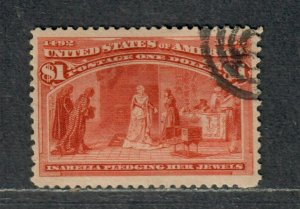 US Sc#241 Used/VF-EF, Well Centered Bright Color Very Tiny Thin, Cv. $525