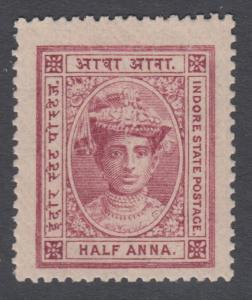 INDIA INDORE 9 MINT NEVER HINGED OG ** NO FAULTS EXTRA FINE !