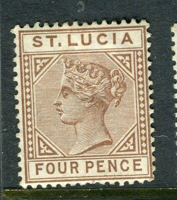 ST.LUCIA; 1880s early QV Crown CA issue Mint hinged 4d. value, Shade