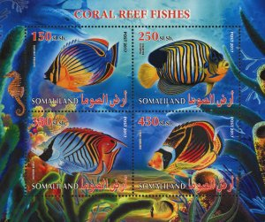 Coral Reef Fish Chaetodon Souvenir Sheet of 4 Stamps Mint NH