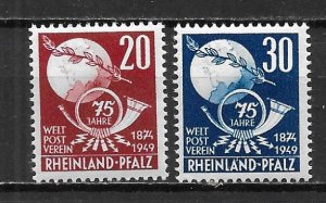Germany Rhein-Palatinate 6N41-42 75th UPU set MNH (z3)