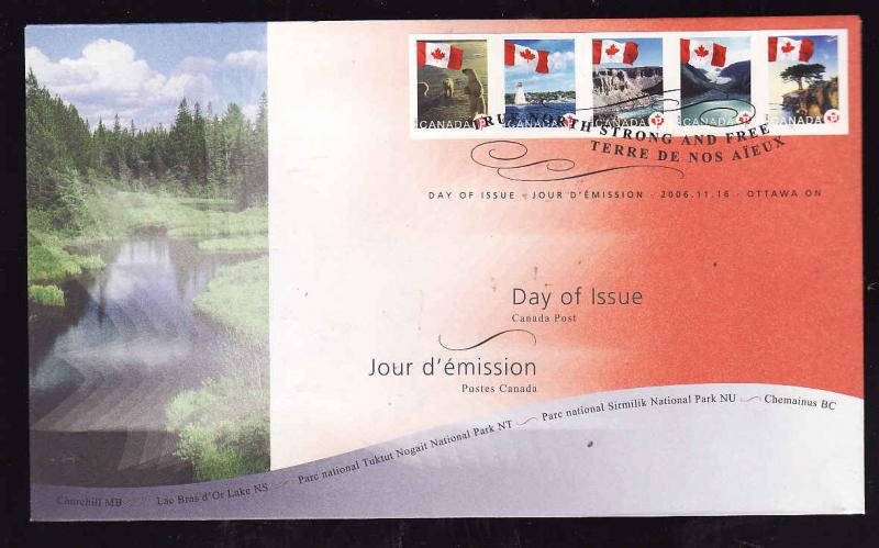 Canada-Sc#2189-93-stamps on FDC-Flags over Canada-2006